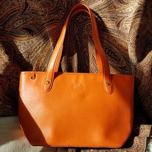 Lauren Ralph Lauren orange zippered tote